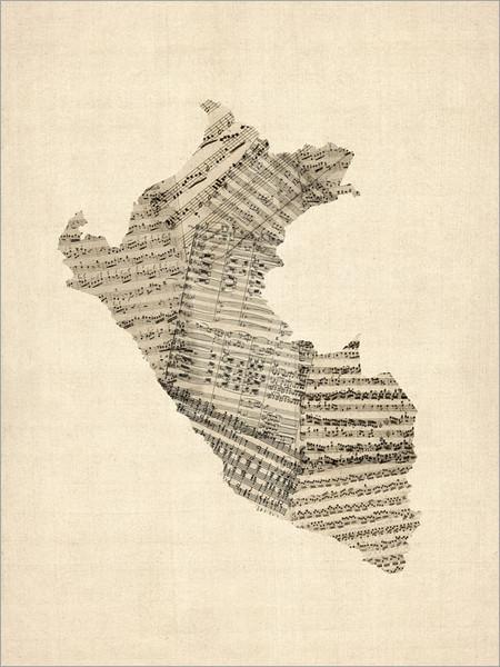 Sheet Music Peru Map Poster Art Print