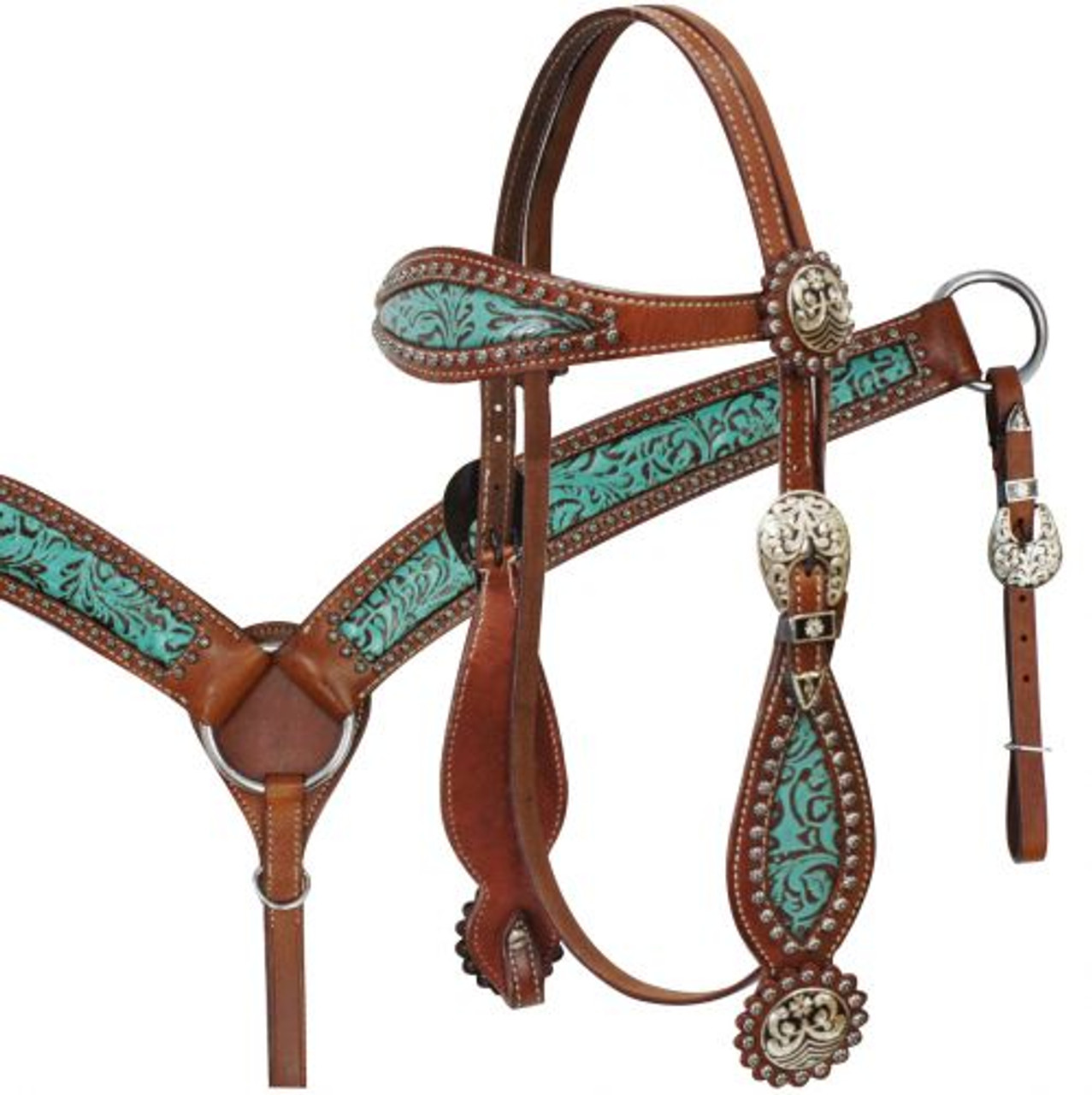 Showman Teal Filigree Headstall /& Breast Collar Set w//Copper Rosette Conchos /& Reins New Horse TACK!