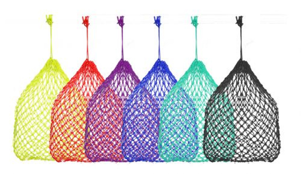 BLUE Poly Knotted Nylon Rope SUPER Slow Feed Hay Net Bag with Draw String