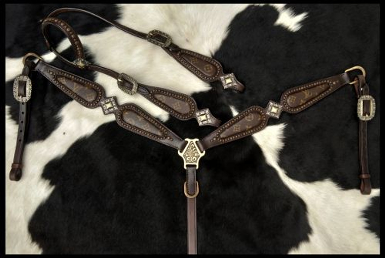 Klassy Cowgirl Argentina Cow Leather Re Purposed Louis Vuitton Headstall And Breast Collar Set With Scalloped