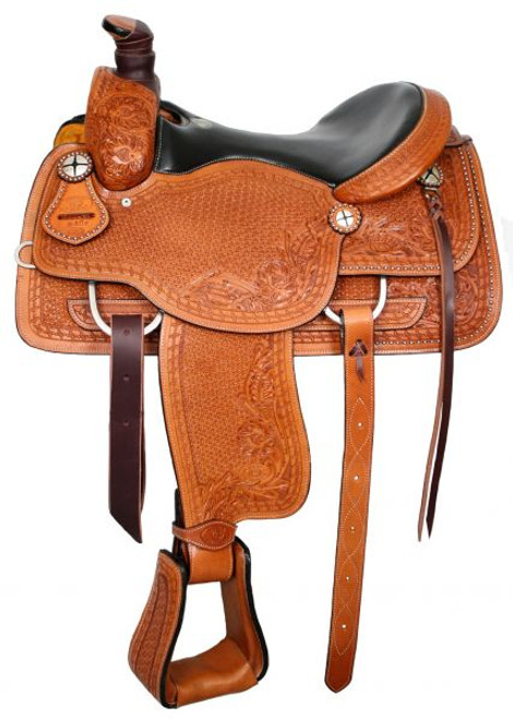 """16"""" Basketweave Tooled Circle S Roping Saddle With Top Grain Smooth Leather Seat"""
