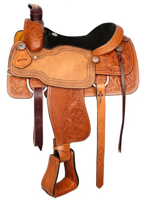 """15"""", 16"""", 17"""" Basketweave And Floral Tooled Circle S Roping Saddle With Suede Leather Seat"""