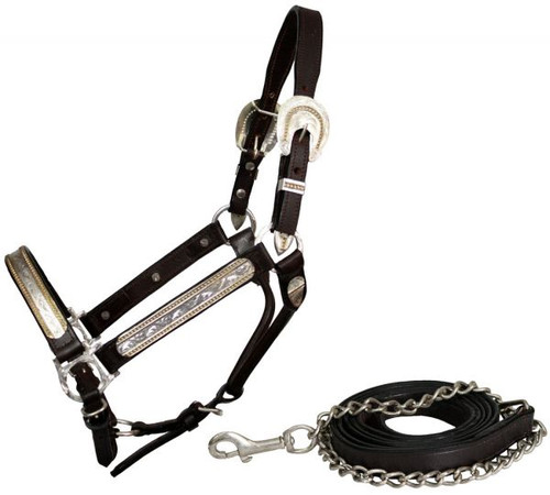 Showman Leather Horse Size Silver Show Halter