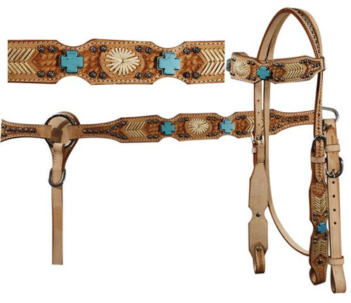 Showman™  Headstall And Breast Collar Set With Turquoise Cross Stones, Rawhide Accents and Basketweave Tooling