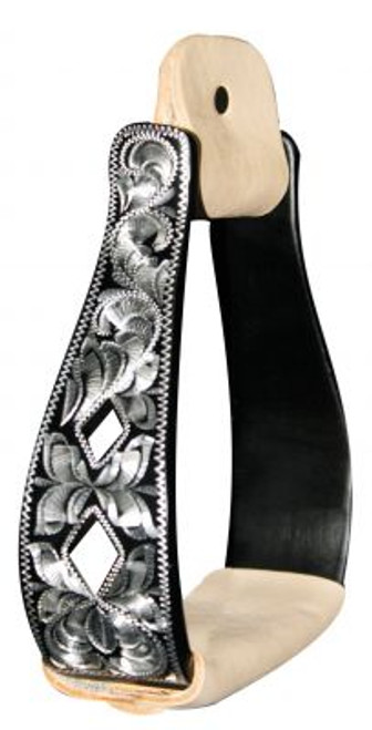 Showman™  Black Aluminum Engraved Silver Stirrup With Cut Out Diamonds