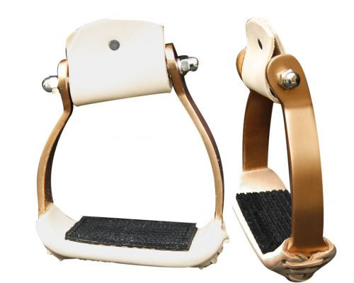 Showman Angled Copper Colored Aluminum Stirrups with Rubber Grip Tread