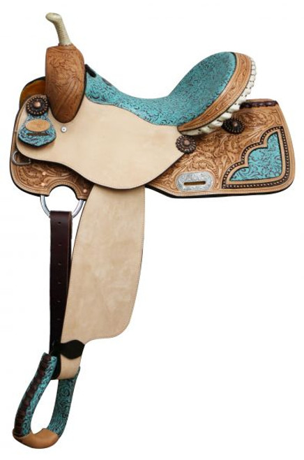 """14"""", 15"""", 16"""" Double T Barrel Style Saddle with Filigree Print Seat with Full QH Bars"""