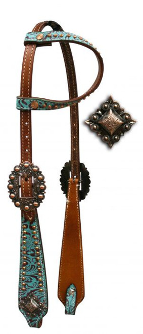 Showman™ One Ear Headstall with Teal and Brown Filigree Print