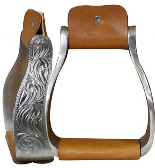 Showman Aluminum Engraved Off Set Stirrups