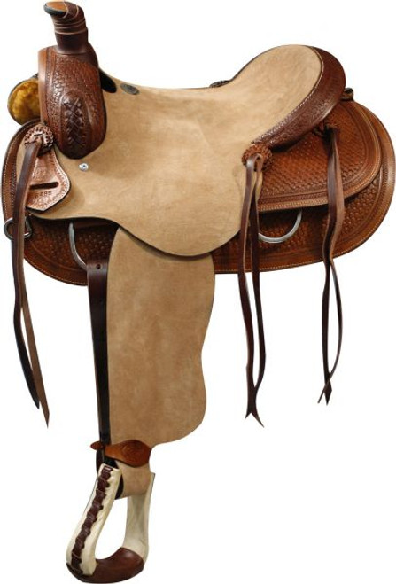 """16"""" Double T Roper Style Saddle with Rough Out Leather Hard Seat and Basketweave Tooling"""