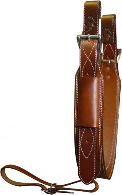 """Showman™ Premium Leather Heavy Duty 3"""" Wide Back Cinch with Roller Buckles"""