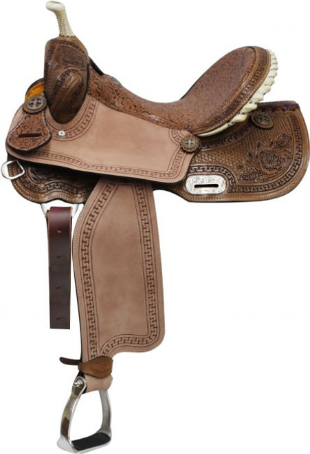 """14"""",15"""", 16"""" Double T Barrel Style Saddle with Brown Filigree Seat and Tooling"""