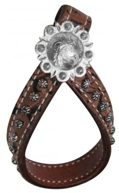 Brown Filigree Leather Tie Down Keeper