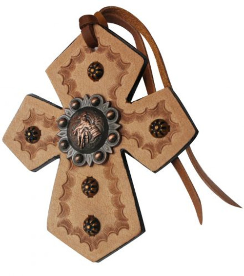 Showman ® Leather Tie On Cross with Engraved Barrel Racer Concho