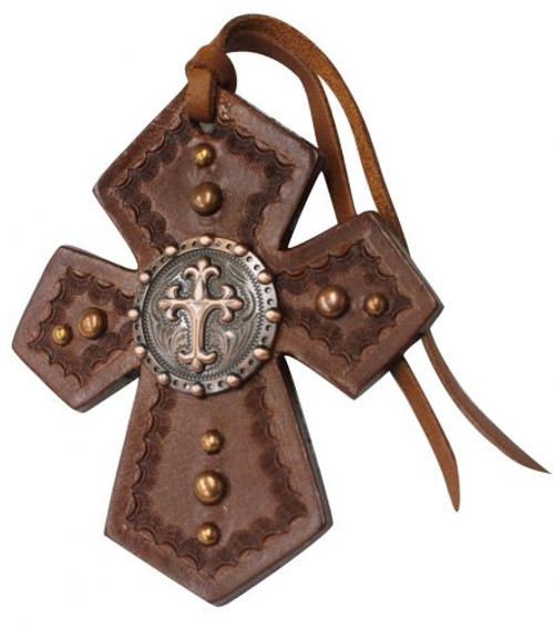 Showman ® Leather Tie On Cross with Celtic Cross Concho