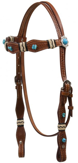 Showman ® Turquoise Stone Beaded Headstall with Rawhide Accents