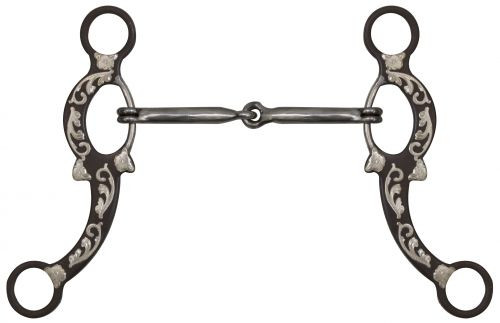 """Showman ® 5"""" Brown Snaffle Bit with Engraved Silver Overlays"""