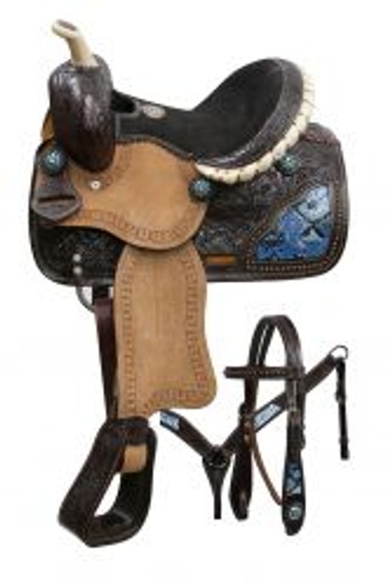 "10"" Double T pony saddle set with blue snake print inlays."
