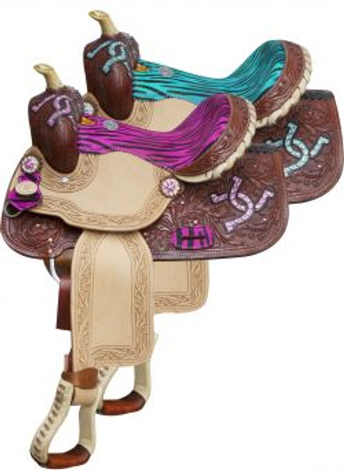 """13"""" Double T Barrel style saddle with zebra print seat and horse shoe design on skirts."""
