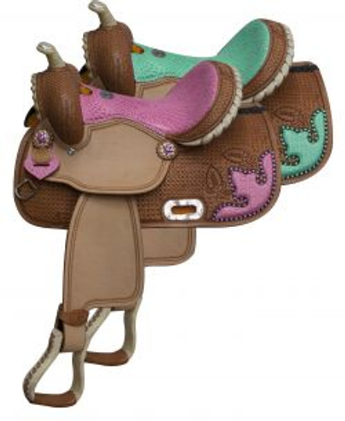 """13"""" Double T Barrel style saddle with snake print seat and accents."""