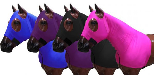 Showman ® Form fitting, breathable Lycra® hood with zipper neck.
