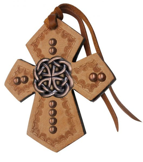 Showman ® Leather Tie On Cross with Celtic knot Concho