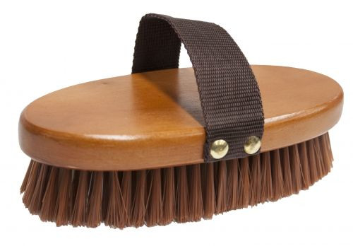 Medium bristle brush with smooth wooden oval base and nylon hand strap.