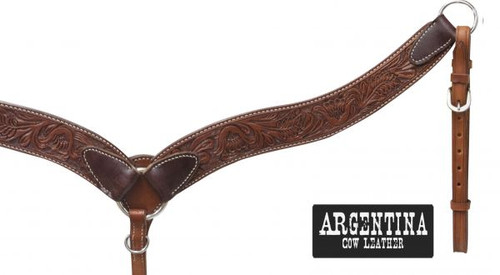 """Showman ® 2 1/4"""" Argentina cow leather contoured breast collar with floral tooling."""