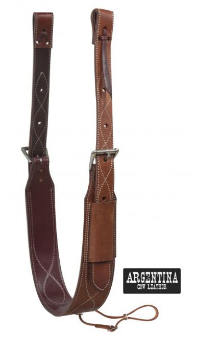 """Showman ® 3"""" wide Argentina Cow Leather back cinch with roller buckles."""