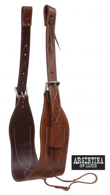 """Showman ® 7"""" wide contoured Argentina Cow Leather back cinch with roller buckles."""