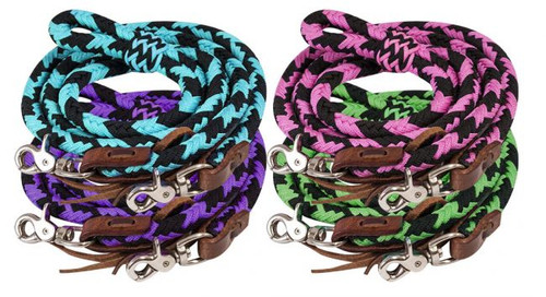 Showman ® 8ft braided nylon barrel reins with scissor snap ends.