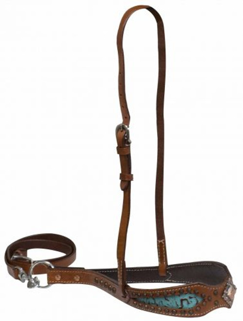 Showman ® Double stitched noseband with teal filigree print inlay accented with copper concho.