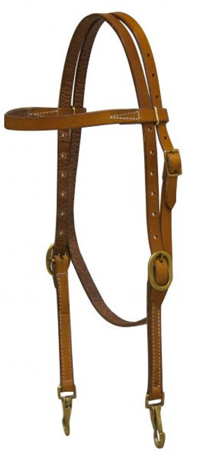 Showman ® Argentina cow leather headstall with solid brass buckles and bit snaps.