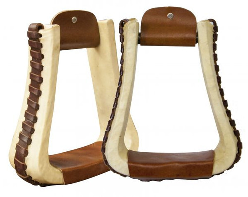 Showman ® rawhide covered pleasure style western stirrups with leather lacing.