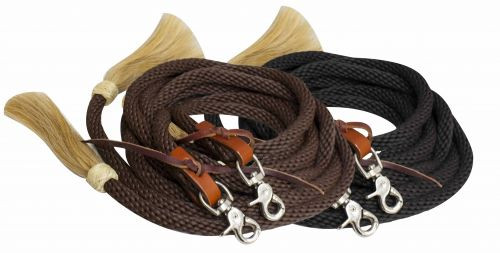 Showman ® 6.5ft round braided nylon split reins with horse hair ends.