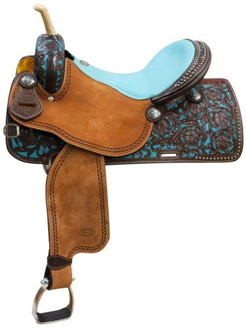 """14"""",15"""", 16"""" Showman ® Argentina cow leather barrel saddle teal painted tooling."""
