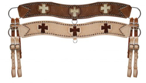 Showman™ leather tripping collar with hair on cowhide cross