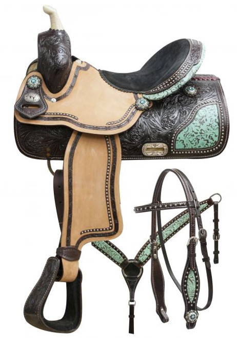 """15"""", 16"""" Double T barrel saddle set with teal filigree inlay."""