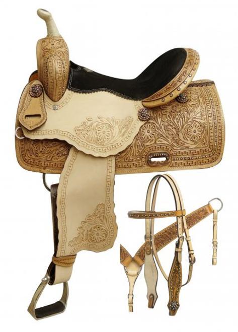 "14"", 15"", 16"" Double T Barrel style saddle with rainbow crystal rhinestones."