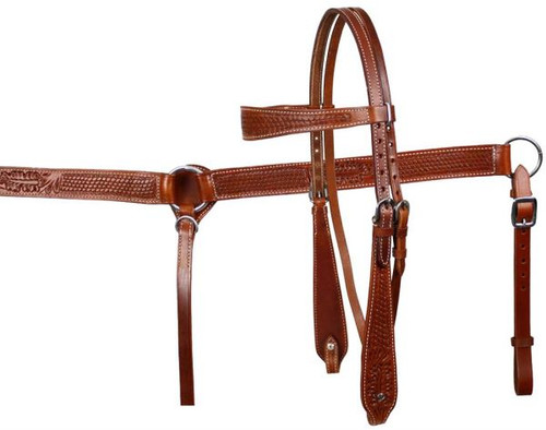 Medium Showman™ double stitched leather wide browband headstall and breast collar set with basketweave and floral tooling.