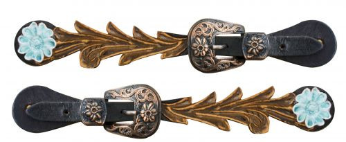 Showman ® Adult size Cut out tooled spur straps with teal painted daisy.