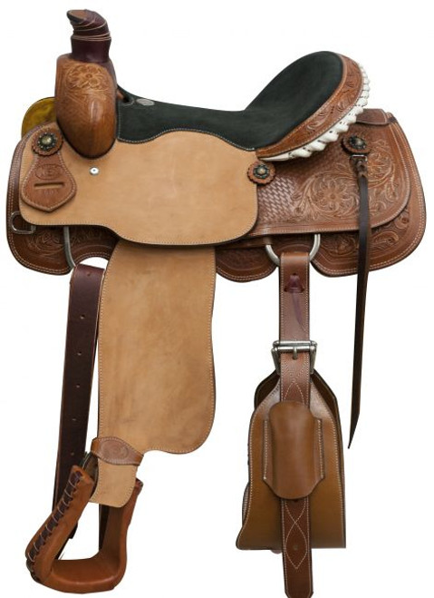 """16"""" Circle S roper saddle with floral and basketweave tooling."""