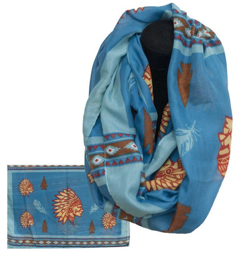 "Blue infinity woven scarf with Indian Cheif print. 66"" x 28""."