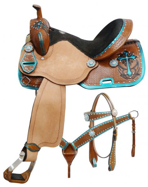 """14"""", 15"""", 16"""" Double T  barrel style saddle set with metallic teal painted cross."""