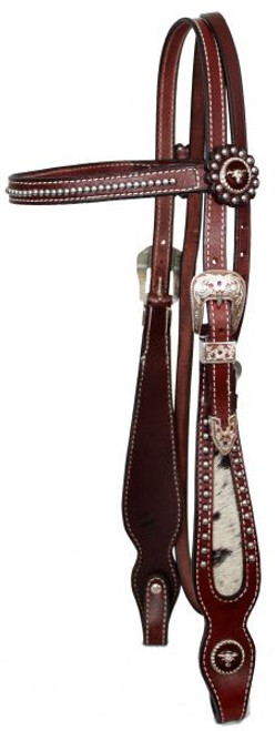Showman Browband Beaded Headstall & Reins with Hair on Cowhide
