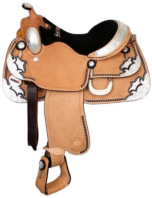"16"" Showman™ Basketweave Tooled Show Saddle With Black Inlay"