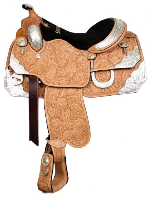"""16"""", 17"""" Showman™ Floral Tooled Silver Show Saddle"""