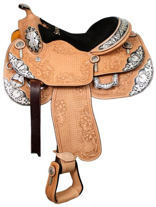 "16"" or 17"" Showman™ Large Basketweave And Oak Leaf Tooled Silver Show Saddle"