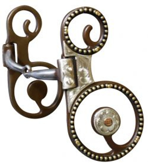 Showman™ Antique Brown  Snaffle Bit with Engraved Silver Overlay Accented with Gold Studs