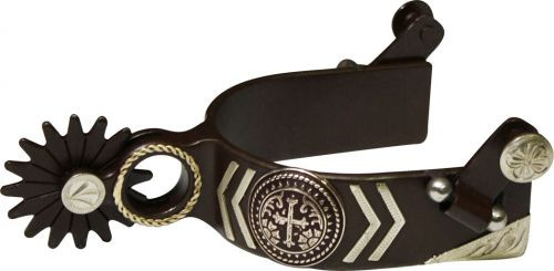 Showman™ Antique Brown Spur with Silver Engraved Cross Concho and Silver Overlays